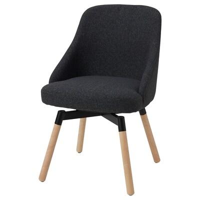 JANOLOF Swivel dining chair, Gunnared dark grey