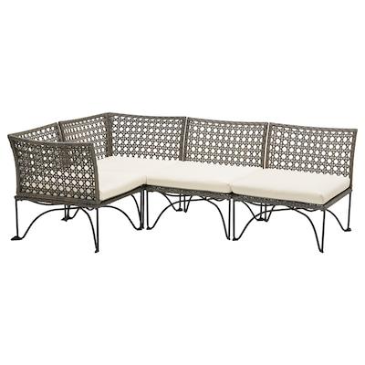 JUTHOLMEN Modular corner sofa 3-seat, outdoor, dark grey/Kuddarna beige