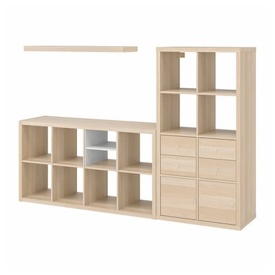 KALLAX / LACK Storage combination with shelf, white stained oak effect, 224x39x147 cm