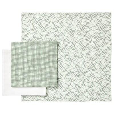 KLÄMMIG Washcloth, green/white, 3 pack
