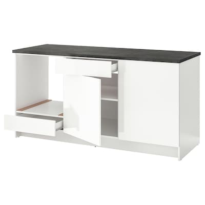 KNOXHULT Base cabinet with doors and drawer, high-gloss white, 180 cm