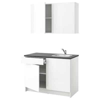 KNOXHULT Kitchen, high-gloss white, 120x61x220 cm