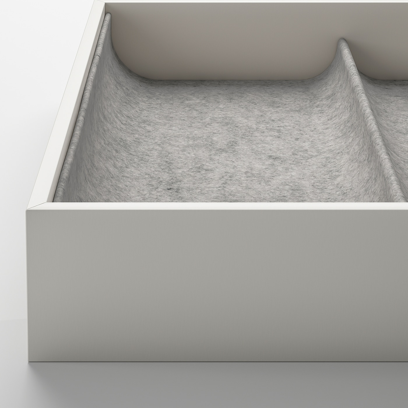 KOMPLEMENT Insert with 4 compartments, light grey, 25x53x5 cm