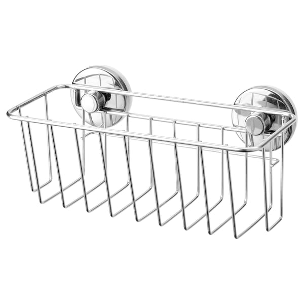 KROKFJORDEN Basket with suction cup, zinc plated, 24x11 cm