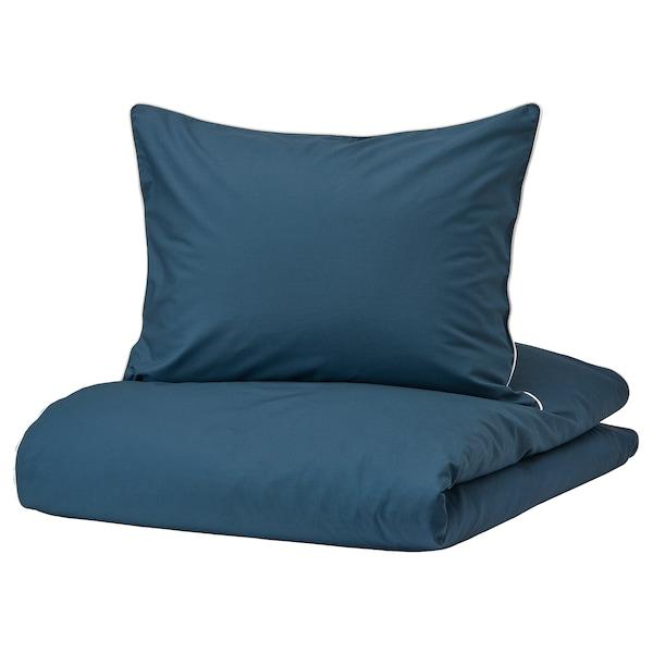 KUNGSBLOMMA Duvet cover and 2 pillowcases, dark blue/white, 200x200/50x60 cm