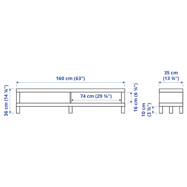 LACK TV bench, black-brown, 160x35x36 cm