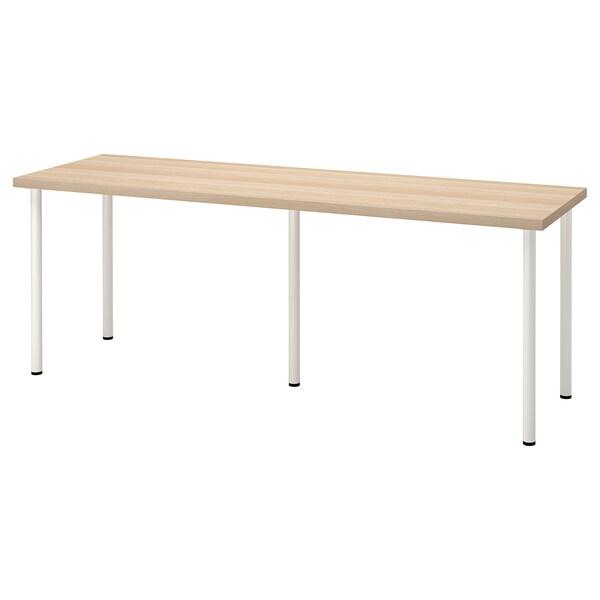 LAGKAPTEN / ADILS Desk, white stained oak effect/white, 200x60 cm
