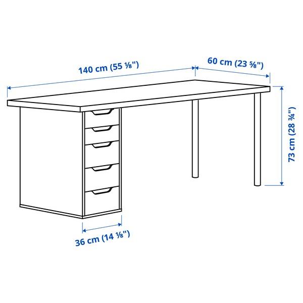 LAGKAPTEN / ALEX Desk, dark grey/white, 140x60 cm