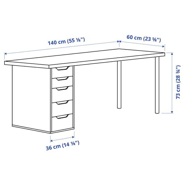 LAGKAPTEN / ALEX Desk, light blue/white, 140x60 cm