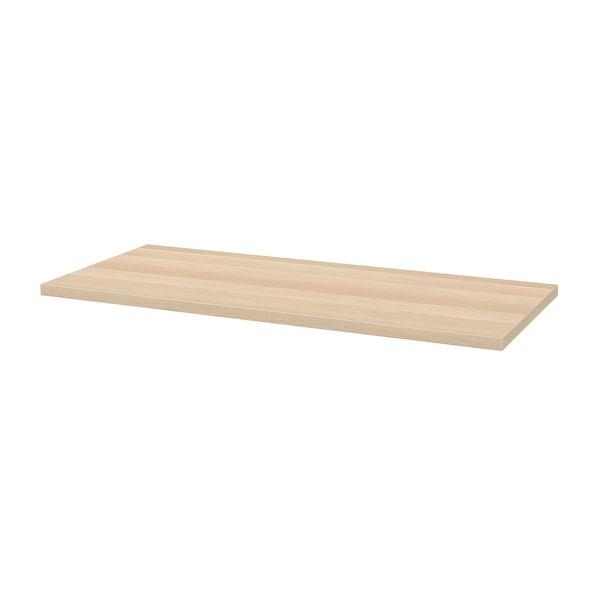 LAGKAPTEN / OLOV Desk, white stained oak effect/white, 140x60 cm