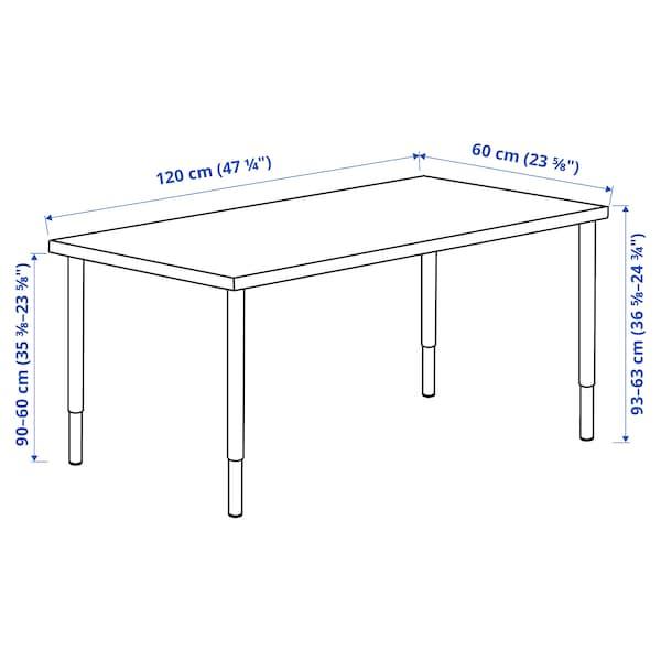 LAGKAPTEN / OLOV Desk, white stained oak effect/white, 120x60 cm
