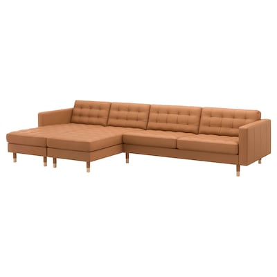 LANDSKRONA 5-seat sofa, with chaise longues/Grann/Bomstad golden-brown/wood
