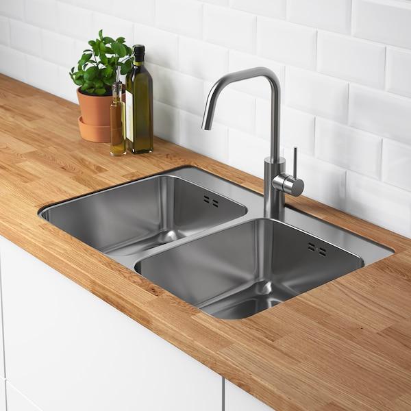 LÅNGUDDEN Inset sink, 2 bowls, stainless steel for custom made worktop wood, 75x53 cm