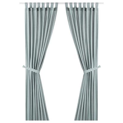 LENDA Curtains with tie-backs, 1 pair, grey-turquoise, 140x300 cm