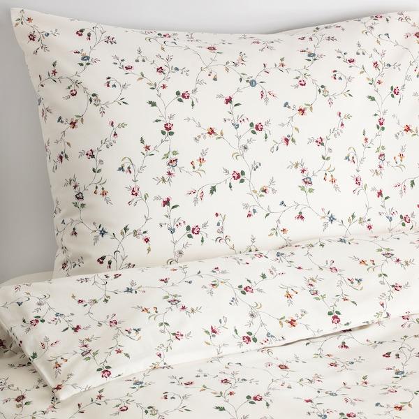 LJUSÖGA Duvet cover and pillowcase, flower, 140x200/70x90 cm