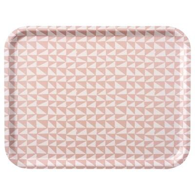 LURVIG Tray, white/pink, 43x33 cm