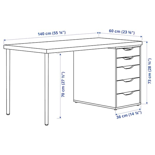 MÅLSKYTT / ALEX Desk, birch/white, 140x60 cm