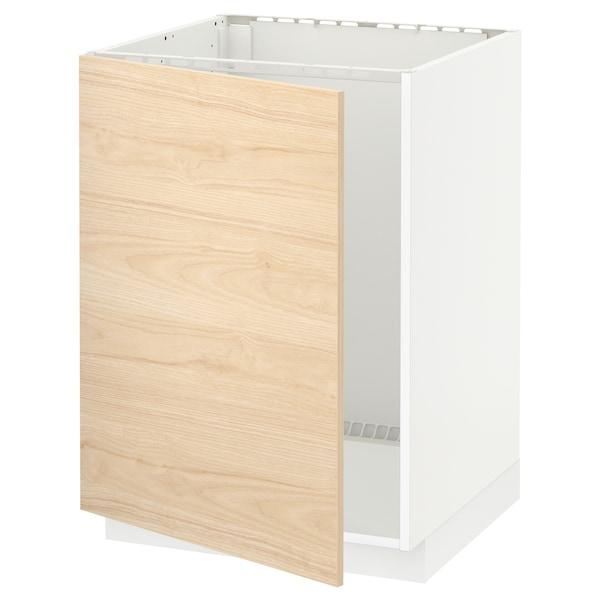 METOD Base cabinet for sink, white/Askersund light ash effect, 60x60 cm