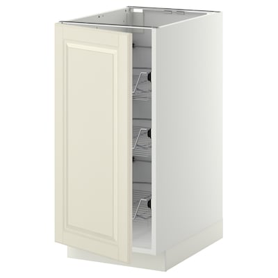 METOD Base cabinet with wire baskets, white/Bodbyn off-white, 40x60 cm