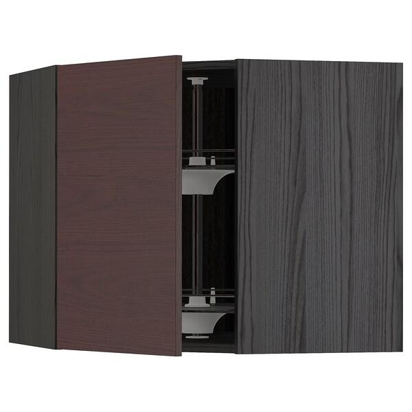 METOD Corner wall cabinet with carousel, black Askersund/dark brown ash effect, 68x60 cm