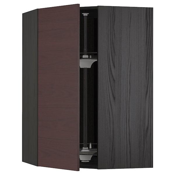 METOD Corner wall cabinet with carousel, black Askersund/dark brown ash effect, 68x100 cm