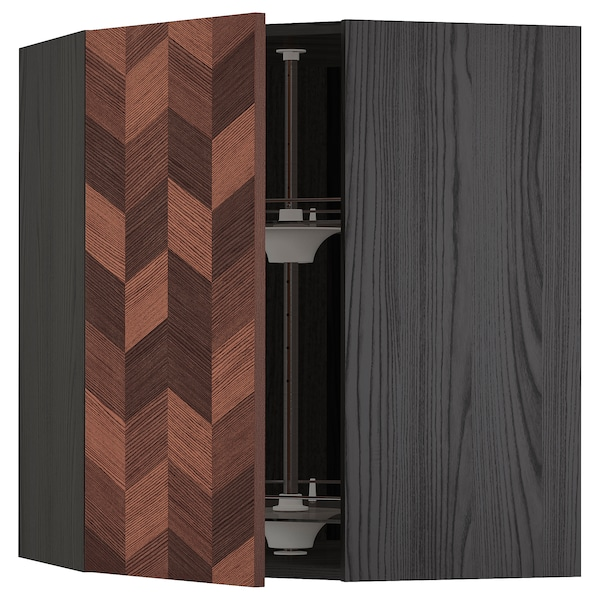 METOD Corner wall cabinet with carousel, black Hasslarp/brown patterned, 68x80 cm