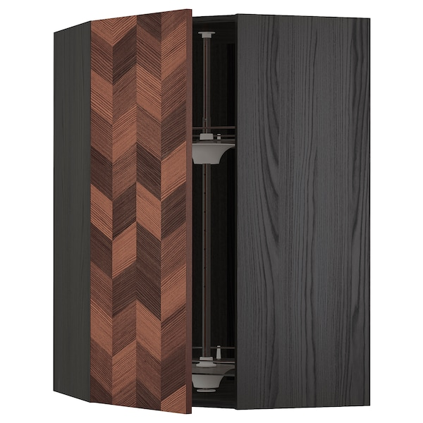 METOD Corner wall cabinet with carousel, black Hasslarp/brown patterned, 68x100 cm