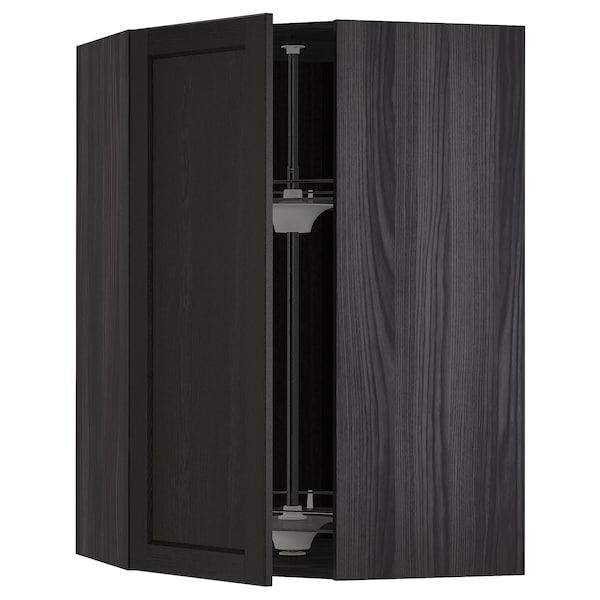 METOD Corner wall cabinet with carousel, black/Lerhyttan black stained, 68x100 cm