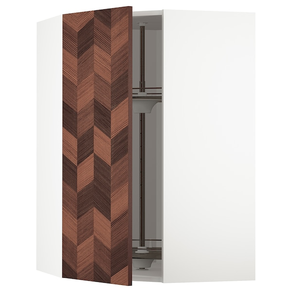 METOD Corner wall cabinet with carousel, white Hasslarp/brown patterned, 68x100 cm