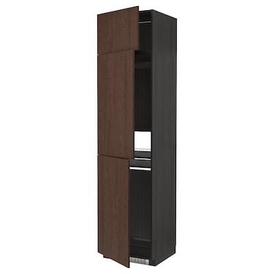 METOD High cab f fridge/freezer w 3 doors, black/Sinarp brown, 60x60x240 cm