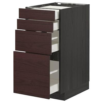 METOD / MAXIMERA Base cab 4 frnts/4 drawers, black Askersund/dark brown ash effect, 40x60 cm