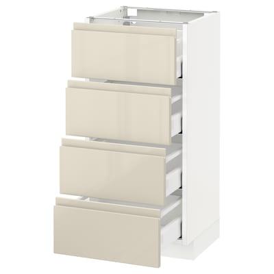 METOD / MAXIMERA Base cab 4 frnts/4 drawers, white/Voxtorp high-gloss light beige, 40x37 cm