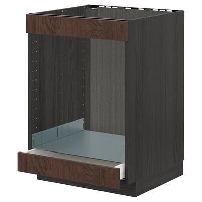METOD / MAXIMERA Base cab for hob+oven w drawer, black/Sinarp brown, 60x60 cm