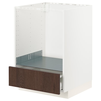 METOD / MAXIMERA Base cabinet for oven with drawer, white/Sinarp brown, 60x60 cm