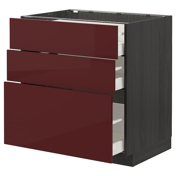 METOD / MAXIMERA Base cabinet with 3 drawers, black Kallarp/high-gloss dark red-brown, 80x60 cm