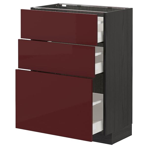 METOD / MAXIMERA Base cabinet with 3 drawers, black Kallarp/high-gloss dark red-brown, 60x37 cm