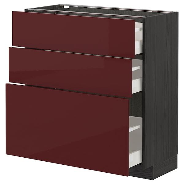 METOD / MAXIMERA Base cabinet with 3 drawers, black Kallarp/high-gloss dark red-brown, 80x37 cm