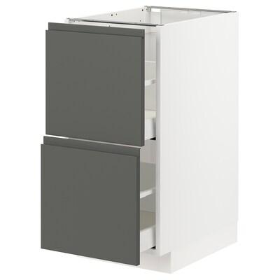 METOD / MAXIMERA Base cb 2 fronts/2 high drawers, white/Voxtorp dark grey, 40x60 cm