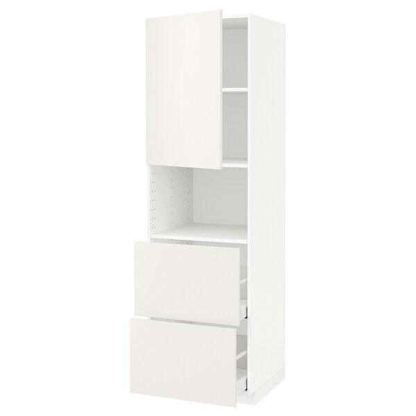 METOD / MAXIMERA Hi cab f micro w door/2 drawers, white/Veddinge white, 60x60x200 cm