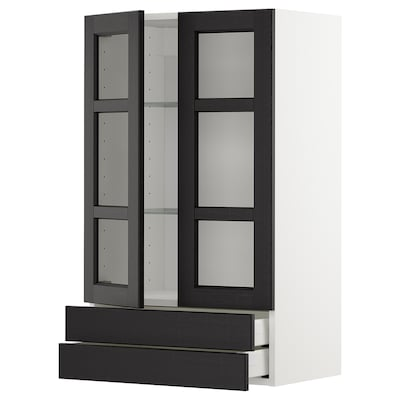 METOD / MAXIMERA Wall cab w 2 glass doors/2 drawers, white/Lerhyttan black stained, 60x100 cm
