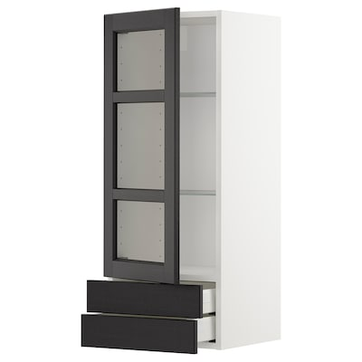 METOD / MAXIMERA Wall cabinet w glass door/2 drawers, white/Lerhyttan black stained, 40x100 cm