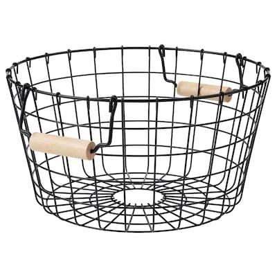 NÄTADE Wire basket with handles, black, 38x20 cm