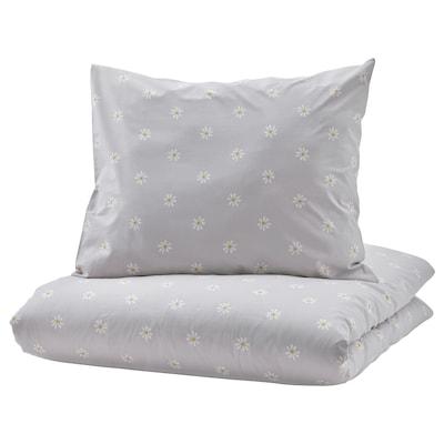 NATTSLÄNDA Duvet cover and pillowcase, floral pattern grey/white, 150x200/50x60 cm