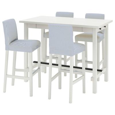 NORDVIKEN / BERGMUND Bar table and 4 bar stools, white/Rommele dark blue/white