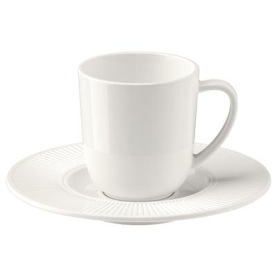 OFANTLIGT Espresso cup and saucer, white, 7 cl