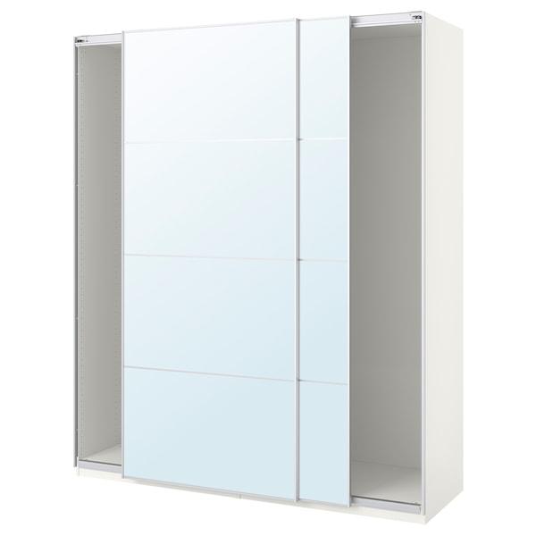 PAX Wardrobe with sliding doors, white/Auli mirror glass, 200x44x236 cm