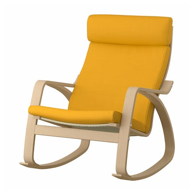 POÄNG Rocking-chair, white stained oak veneer/Skiftebo yellow