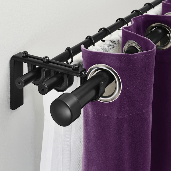 RÄCKA / HUGAD Triple curtain rod combination, black, 210-385 cm