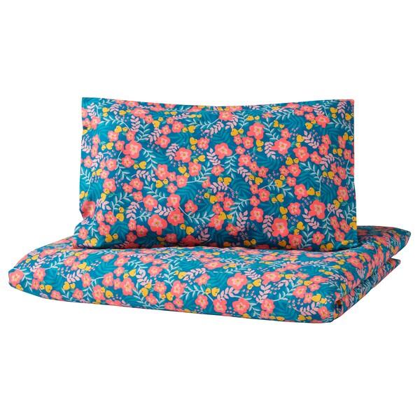 RÖRANDE 3-piece bedlinen set for cot, flower patterned/blue pink, 60x120 cm