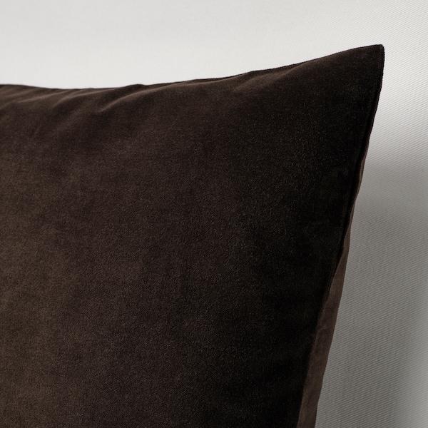 SANELA Cushion cover, dark brown, 50x50 cm